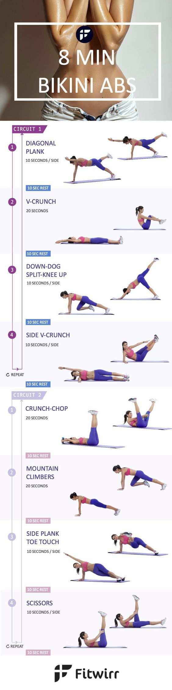 How to Lose Belly Fat Quick with 8 Minute Bikini Ab Workout Like what you see? Take a look at the great fitness, health and