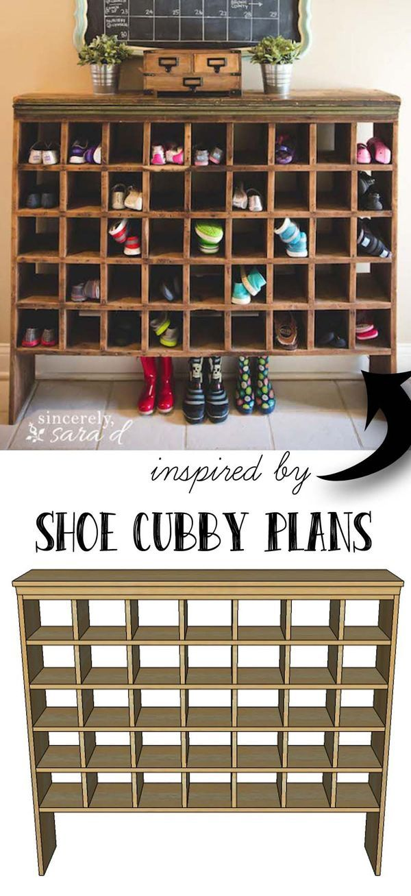 Make a shoe cubby for your entry way or mud room! It will turn organization into a
