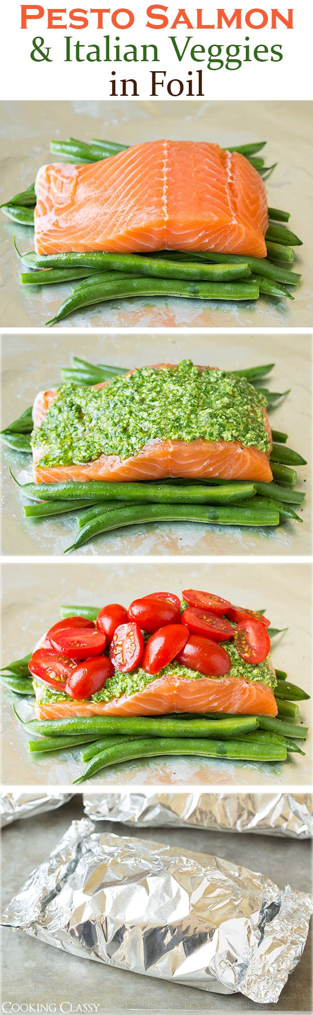 Pesto Salmon and Italian Veggies in Foil – This is an easy, flavorful dinner that