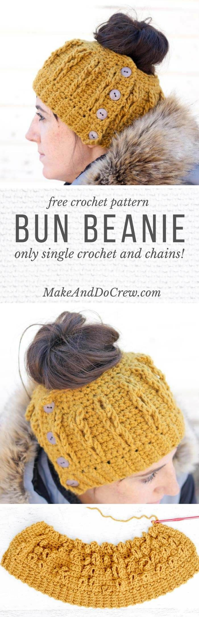 The cabled look of this free crochet bun beanie pattern is worked in only single crochet and chain stitches! Free pattern + video