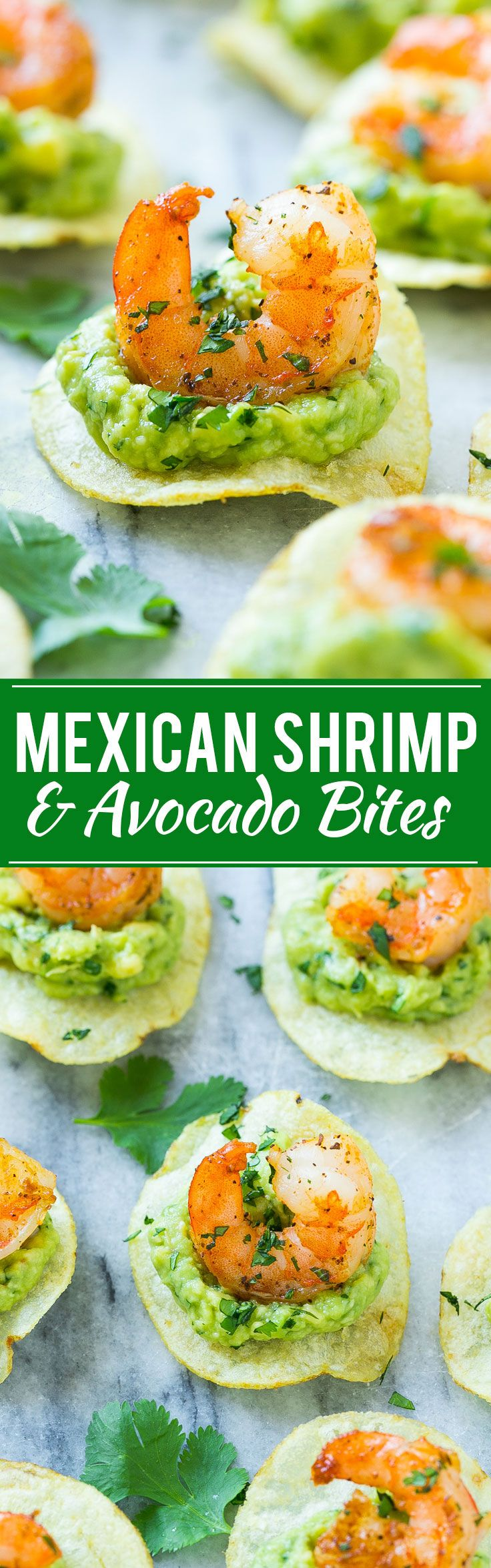 This recipe for Mexican shrimp bites is seared shrimp and guacamole layered onto individual potato chips. A super easy appetizer