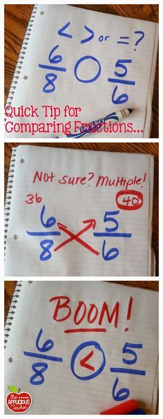 Love this genius tip for comparing fractions. Great way for kiddos to check their