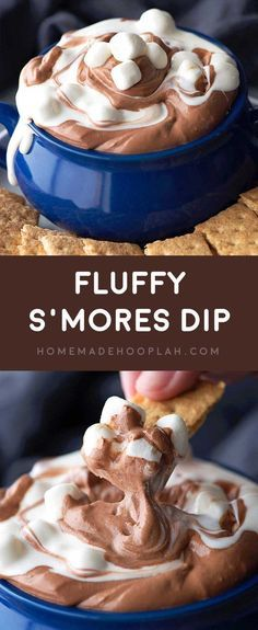 nice Fluffy Smores Dip! Fluffy marshmallow and chocolate dips are swirled together t…