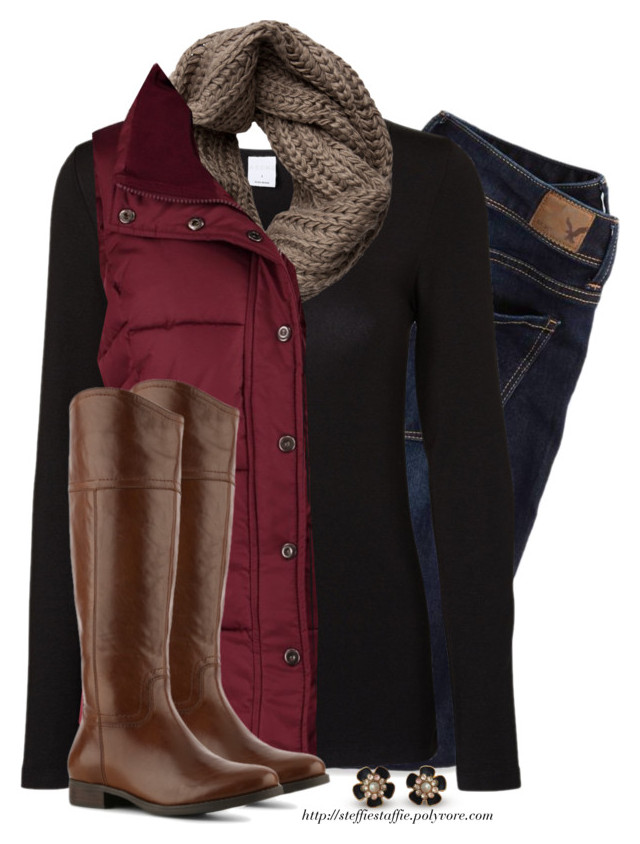 Red Vest, Taupe knit scarf & Riding boots by steffiestaffie on Polyvore featur