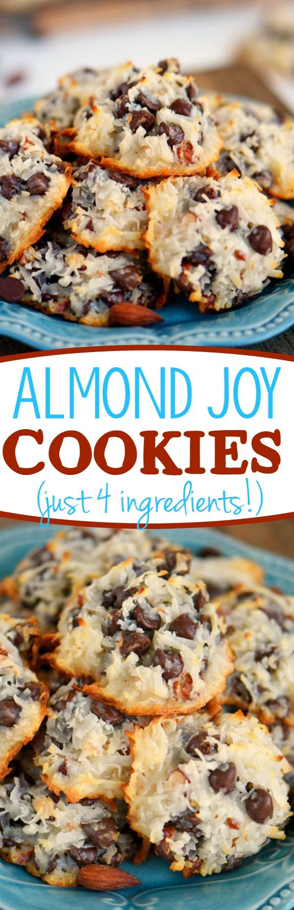 These easy Almond Joy Cookies take just four ingredients and dont even require a mixer! No beating, no chilling, just mix em up