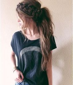 Messy Ponytail with Braid Crown for long brown hair, simple pretty look you can do for summer!