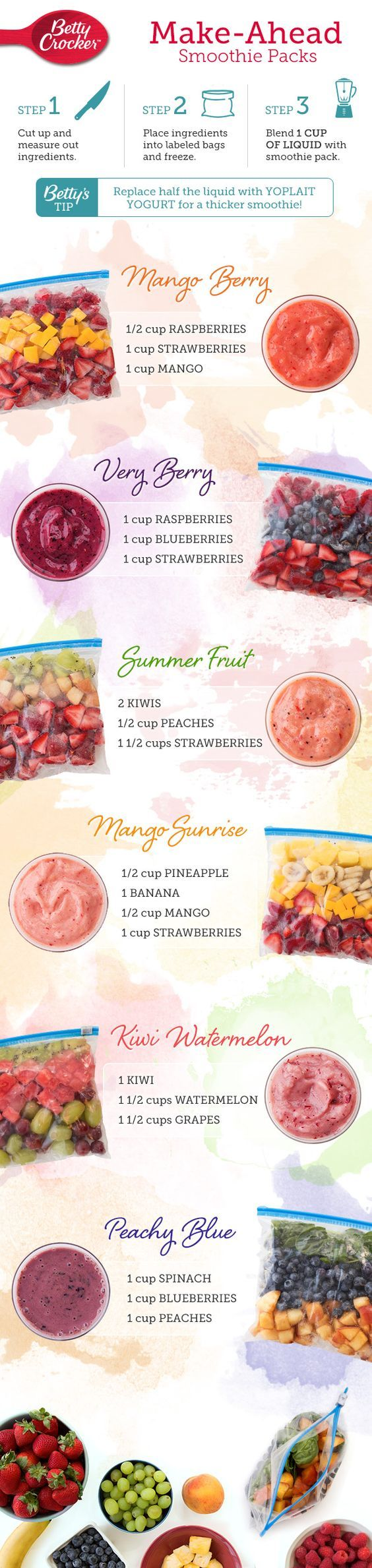 Simplify your morning routine by keeping a freezer full of smoothie packs on hand