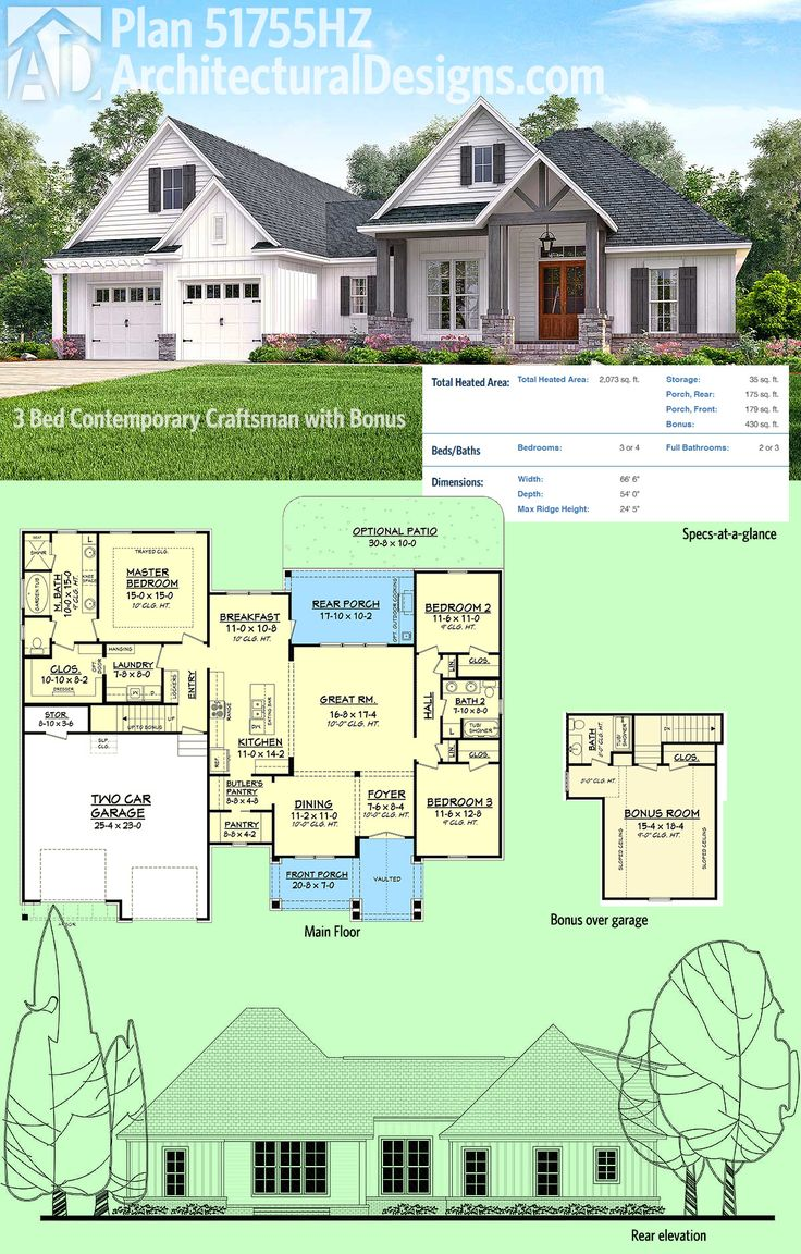 Architectural Designs House Plan 51755HZ is a 3 bed contemporary Craftsman design with a bonus room with bath over the garage,