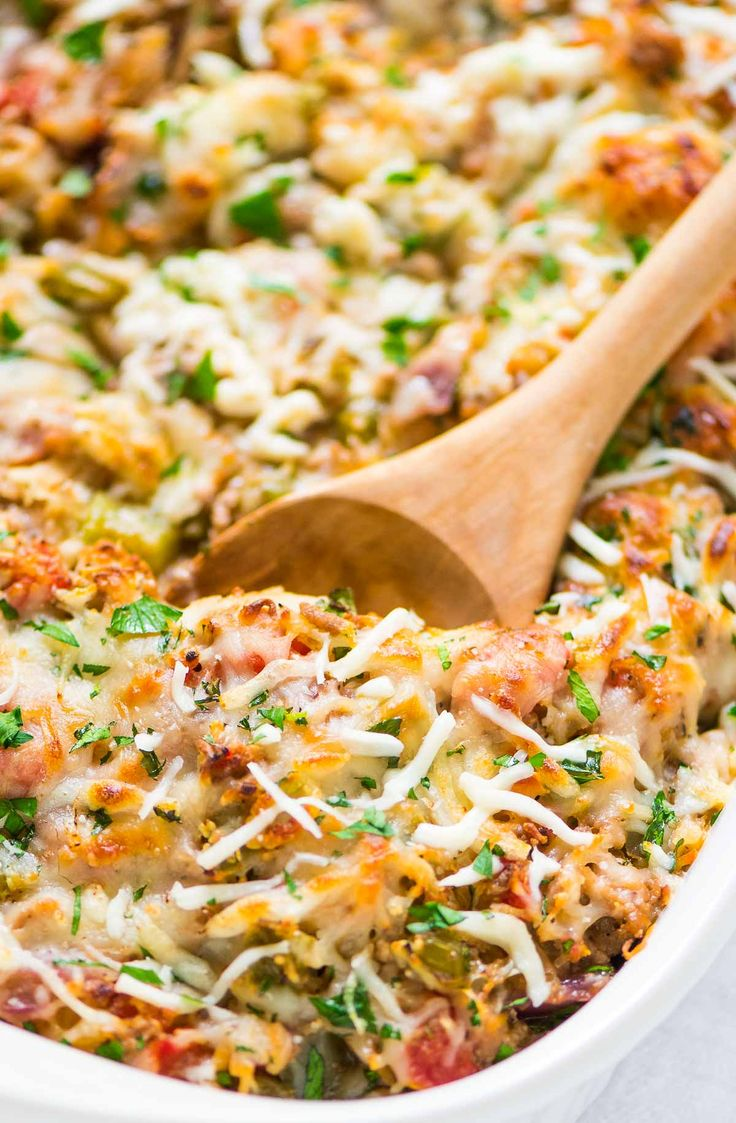 Healthy Spaghetti Squash Casserole with ground turkey, tomatoes and Italian spices