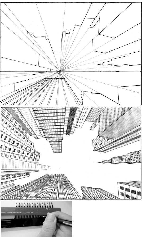 tutorial city in perspective 2 by ~lamorghana on deviantART…Love looking up.  Something different then the aerial view.