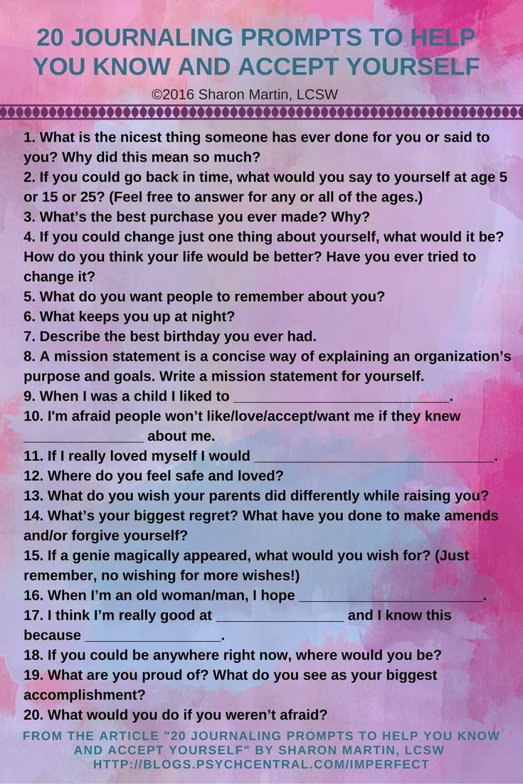 20 Journaling Prompts to Help You Know and Accept Yourself