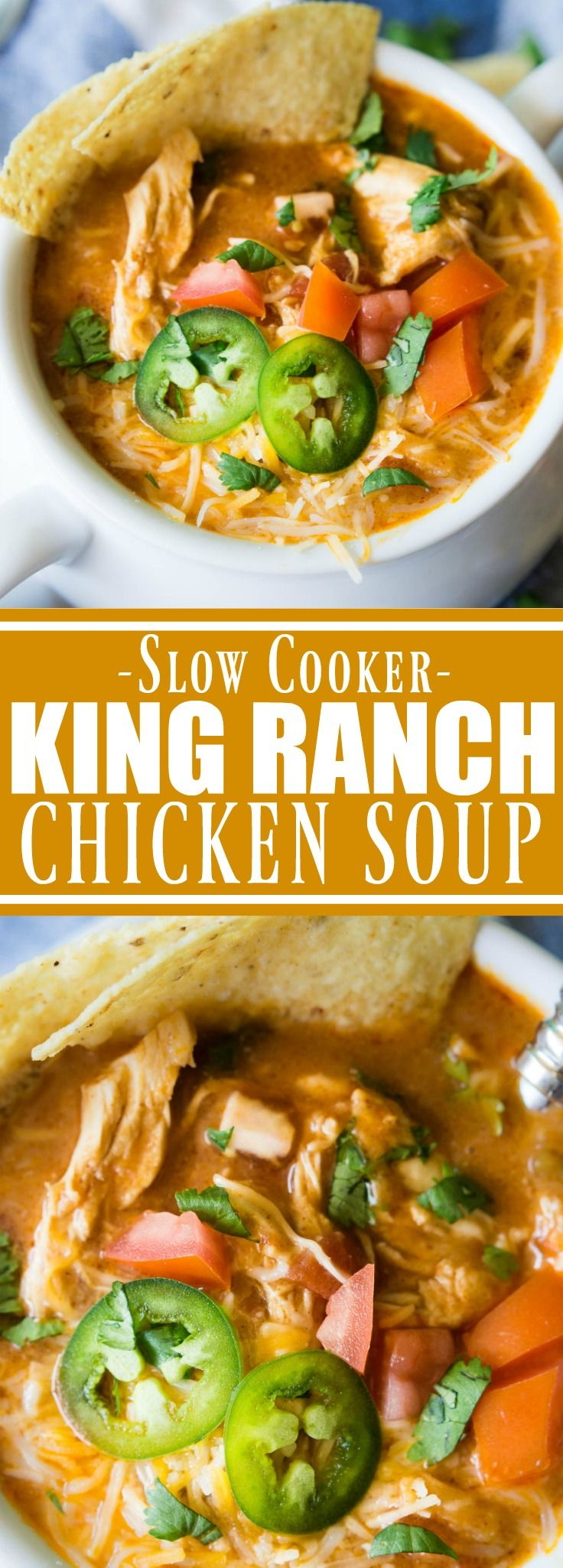 This EASY creamy soup tastes just like the beloved King Ranch Chicken Casserole. Loaded with cheese, juicy chunks of chicken, and
