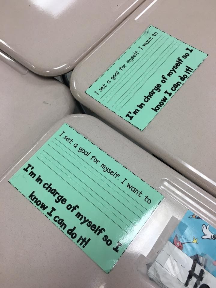 Goal cards taped to kids' desks. When they reach them, they are moved to kids' binders. I think I would put them on a bulletin