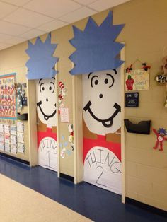 Thing one and thing two classroom door DIY Ideas