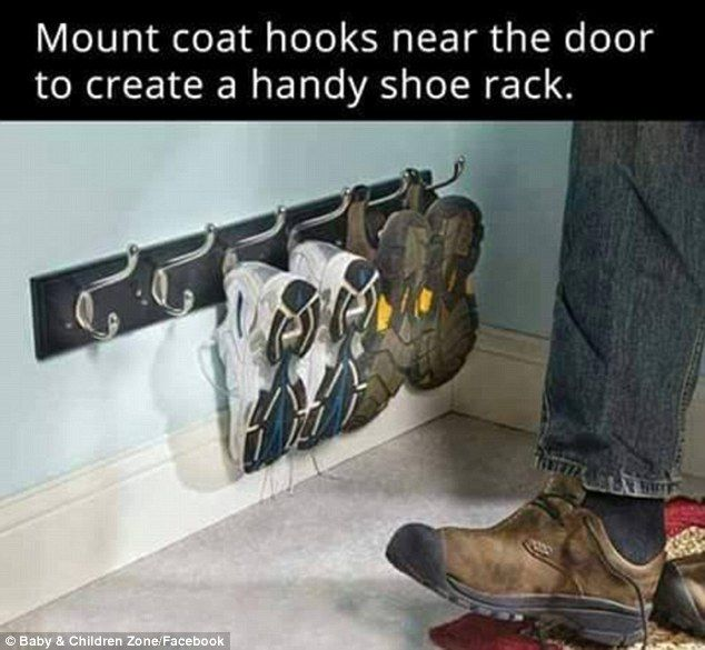 Neat and tidy: Install a coat hook low down on the floor in your hall and hang your trainers and shoes from it to keep life