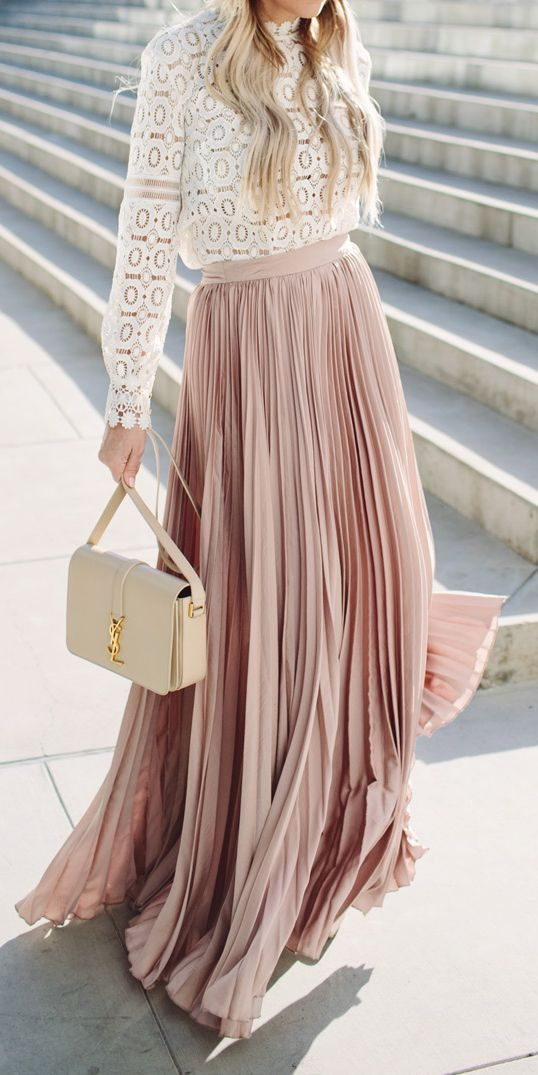 Nude Skirt and YSL bag