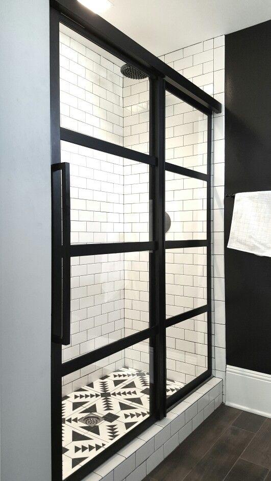 Gridscaps Series True Divided Light Factory Windowpane Sliding Shower Door installed on white subway tile.   www.coastalshower…