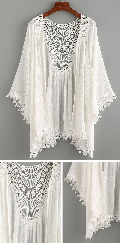 Summer Beach Style – Lace Trimmed Crochet Insert Kimono – White