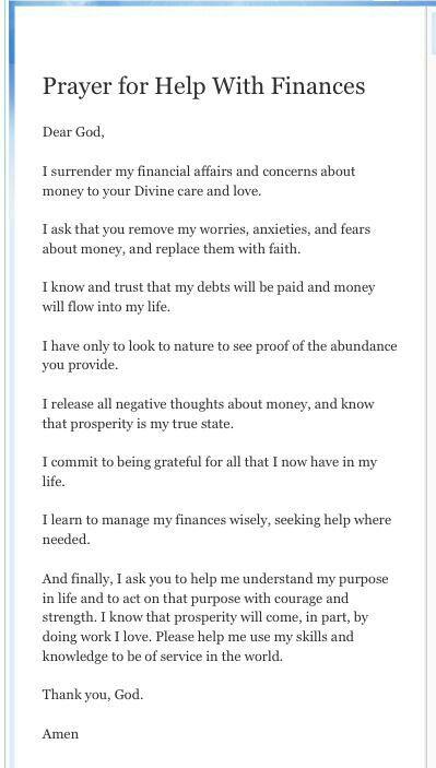 Financial prayer