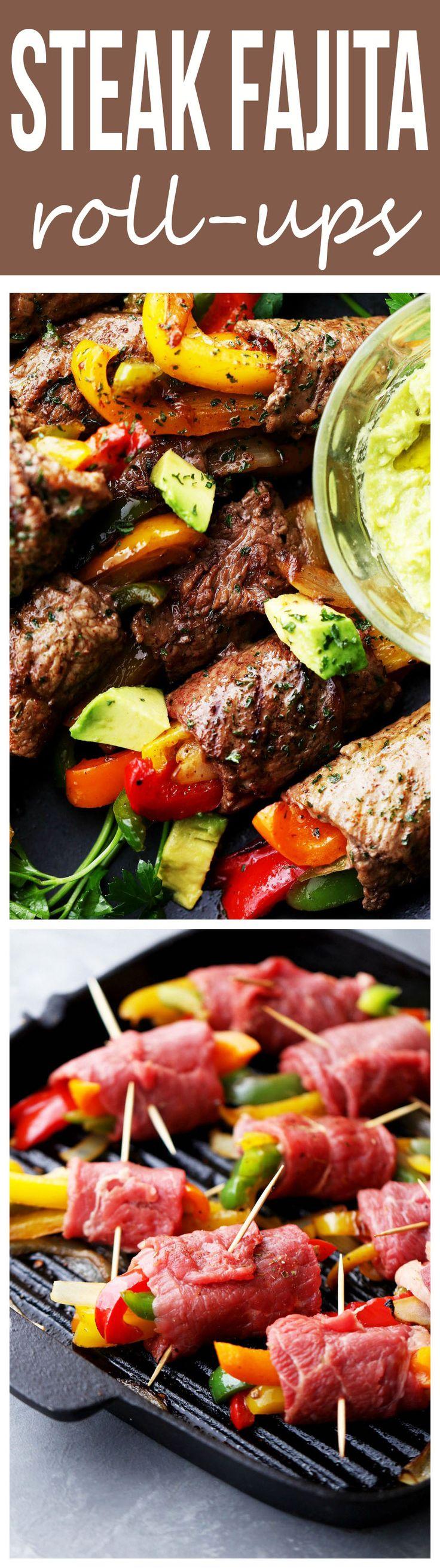 Steak Fajita Roll-Ups – Ditch the flour tortillas and make this amazing low-carb version of your favorite steak fajitas!