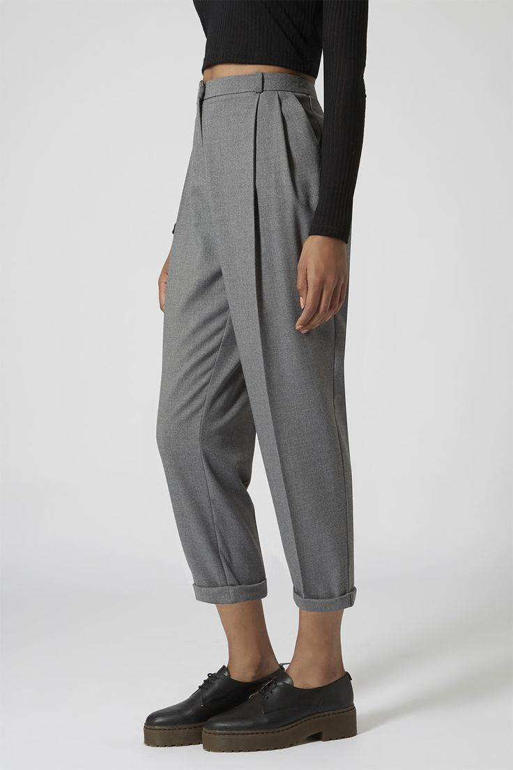 Flannel Mensy Crop Trousers – Trousers – Clothing – Topshop