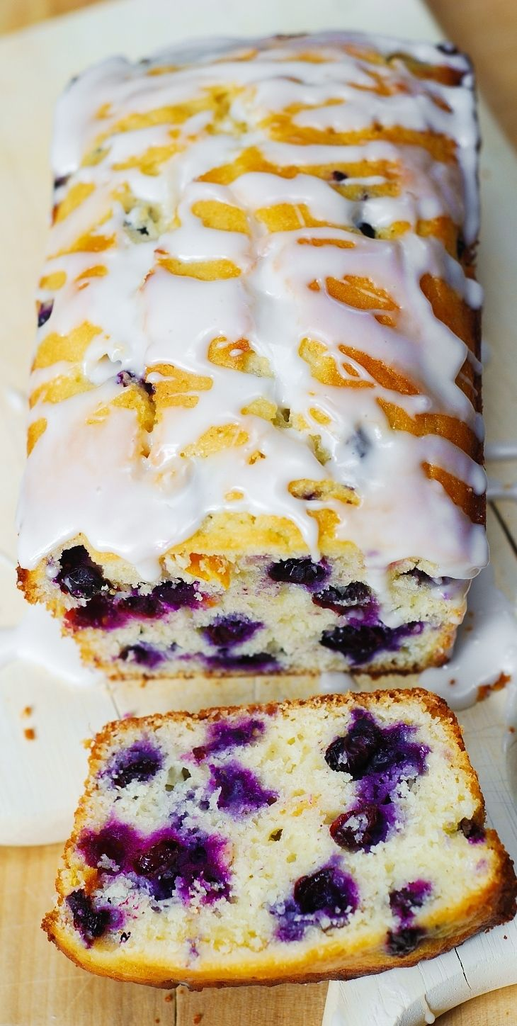 Blueberry vanilla bread with lemon glaze. This delicious bread is stuffed with blueberries, and deliciously flavored with vanilla