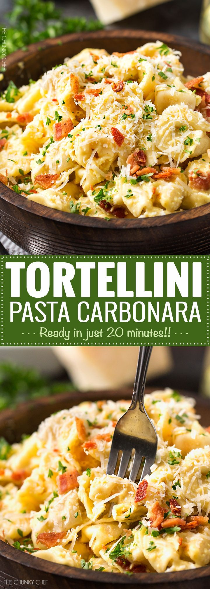 20 Minute Tortellini Pasta Carbonara   Cheese tortellini pasta is coated in a rich carbonara sauce, sprinkled with bacon and