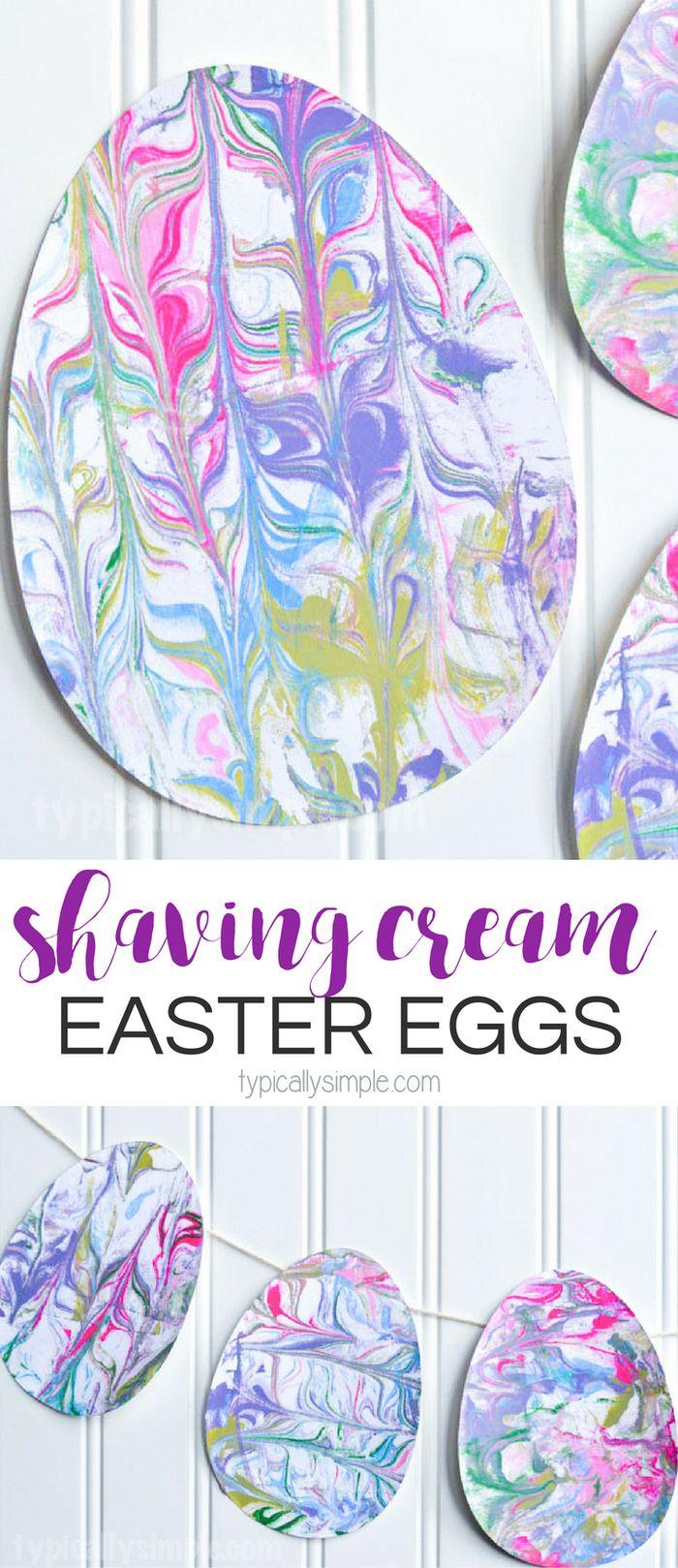 Shaving Cream Marbled Paper Easter Eggs