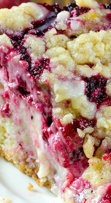 Raspberry Cream Cheese Coffee Cake ~ Moist and buttery cake, creamy cheesecake filling, juicy raspberries and crunchy streusel