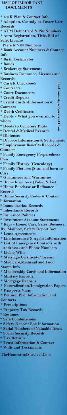 List Of Important Documents. Paper/ file organization. Also to ensure you have as part of an (organized) emergency evacuation