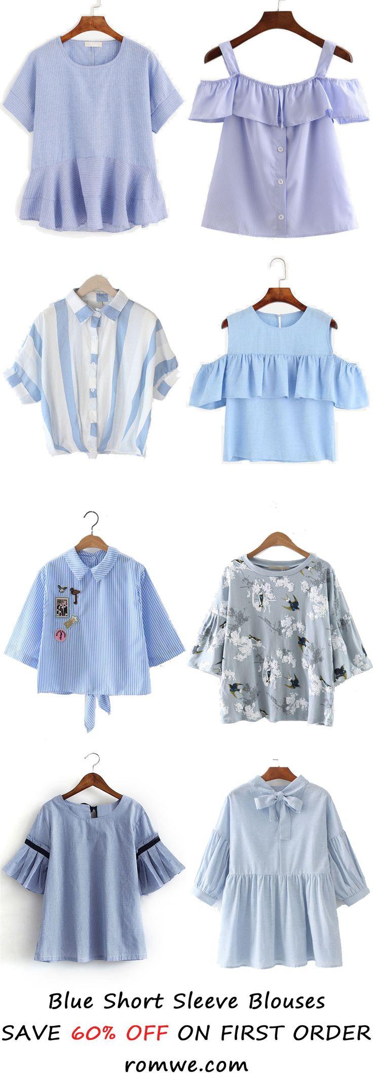 Blue Short Sleeve Blouses 2017 from romwe.com