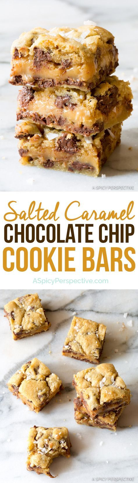 """Irresistible Gooey Salted Caramel Chocolate Chip Cookie Bars 