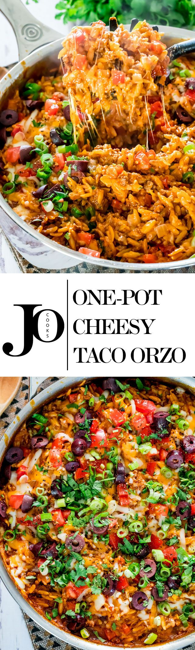 One Pot Cheesy Taco Orzo – picture the yumminess with this quick and delicious pot of perfect comfort food, ready in 30 minutes!