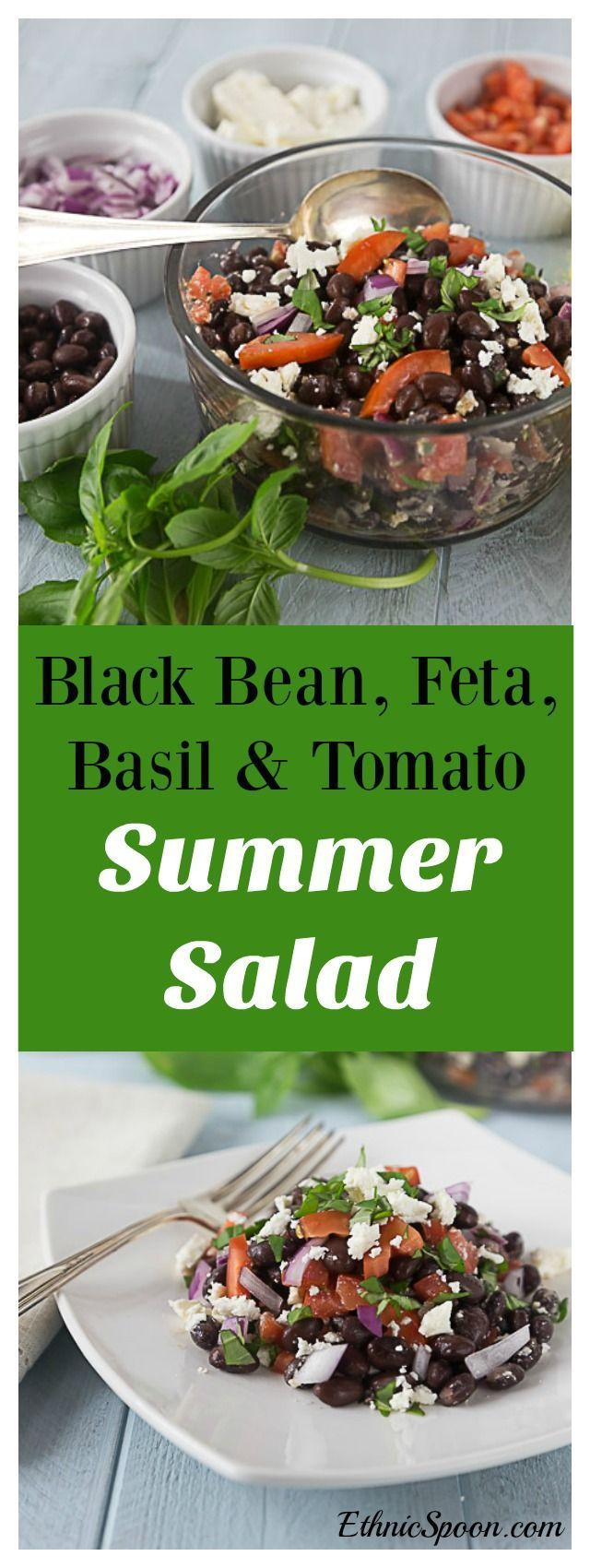 A great clean eating healthy recipe. Black bean, feta, basil, red onion and tomato salad. Try a great cool summer salad with