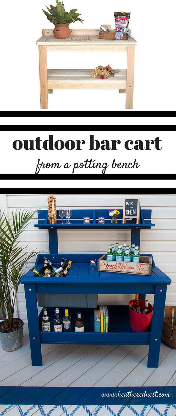 an outdoor potting table can be turned into the patio outdoor bar cart! Check out this one from www.heatherednest… what a fun