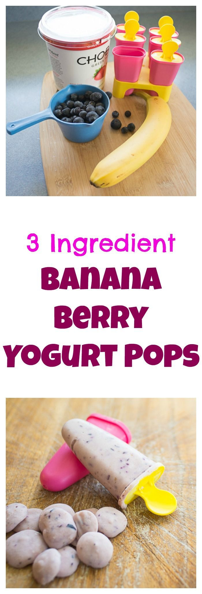 "Our kids favorite summer ""treat"" – healthy banana blueberry yogurt pops. bloggingwithapple…"