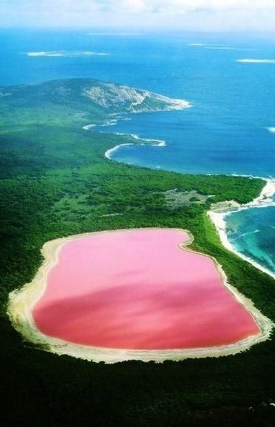 Lake Hillier, Australia. The only naturally pink lake in the world!
