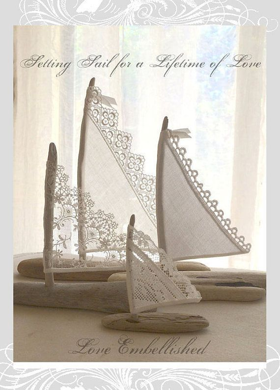 4 Beautiful Driftwood Beach Decor Sailboats Antique Lace Sails Bohemian Inspired Romance Seaside Lakeside Cottage Wedding Cake