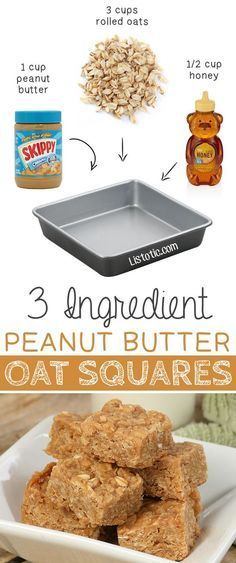3 Ingredient Peanut Butter Oat Squares — These are so GOOD and easy (no bake)! | 6 Ridiculously Healthy Three Ingredient Treats