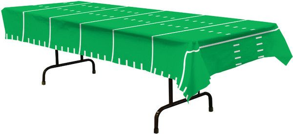 Add this Game Day Football Tablecloth to you football themed party to make it a huge success. The tablecloth looks just like a