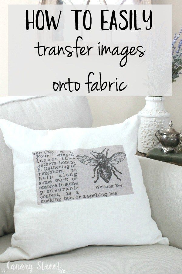 How to easily transfer images onto fabric- http://canarystreetcrafts.com/. Make these easy DIY throw pillows using a simple