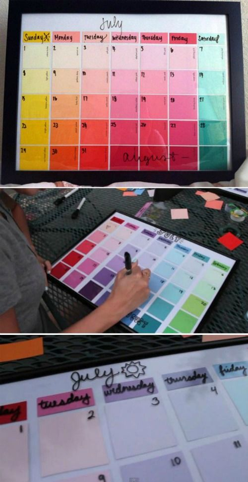 Dorm Room Hacks and Tips – Get creative! This DIY Paint Strip Calendar is so creative! More College Tips on Frugal Coupon Living.