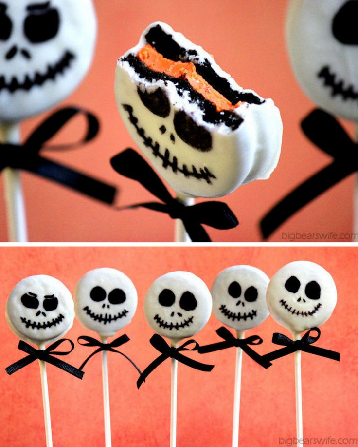 """halloweencrafts: """" DIY Easy Jack Skellington Oreo Pop Tutorial from Big Bear's Wife. These Jack Skellington Pops are made from"""