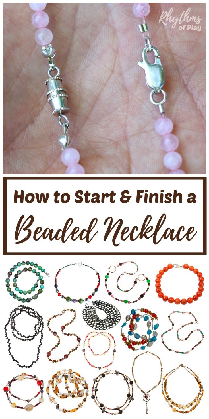 DIY jewelry making tutorials and simple ideas for beginners. Learn 3 easy ways to start and finish a beaded necklace or bracelet;