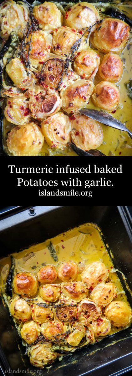 Turmeric infused baked Potatoes with garlic