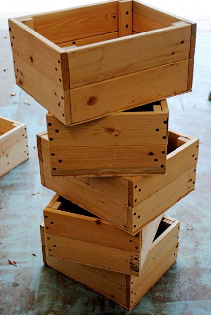 Crates made from pallets – only cost is the drill bits and screws…(just thinking of all the sizes I could make these in and all