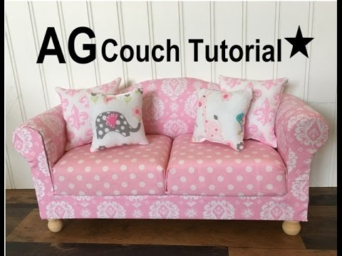 Tutorial for making your own American Girl Doll Living Room Couch and Chair. Easy DIY that anyone can make. How to make cute