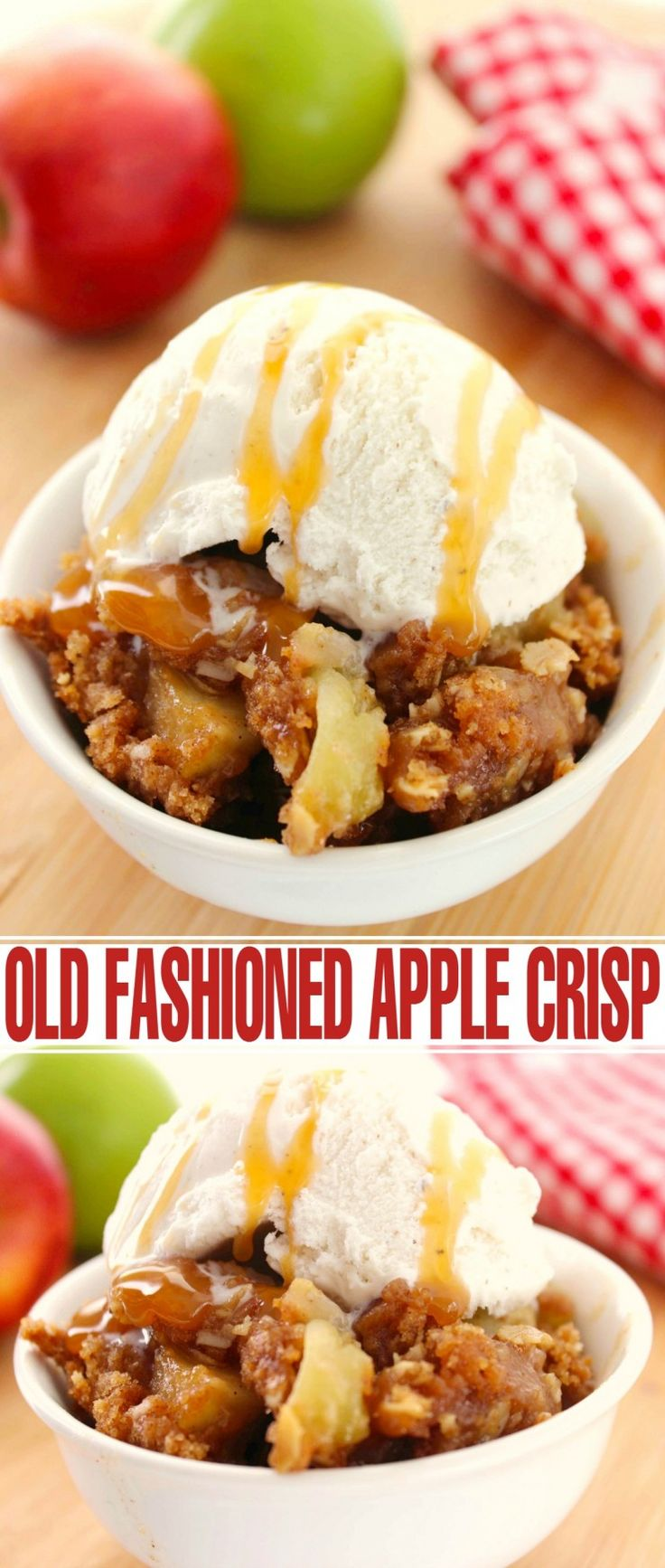 This Old Fashioned Apple Crisp recipe is definitely the best of the best.  Sweet slightly spiced apples topped with an amazing