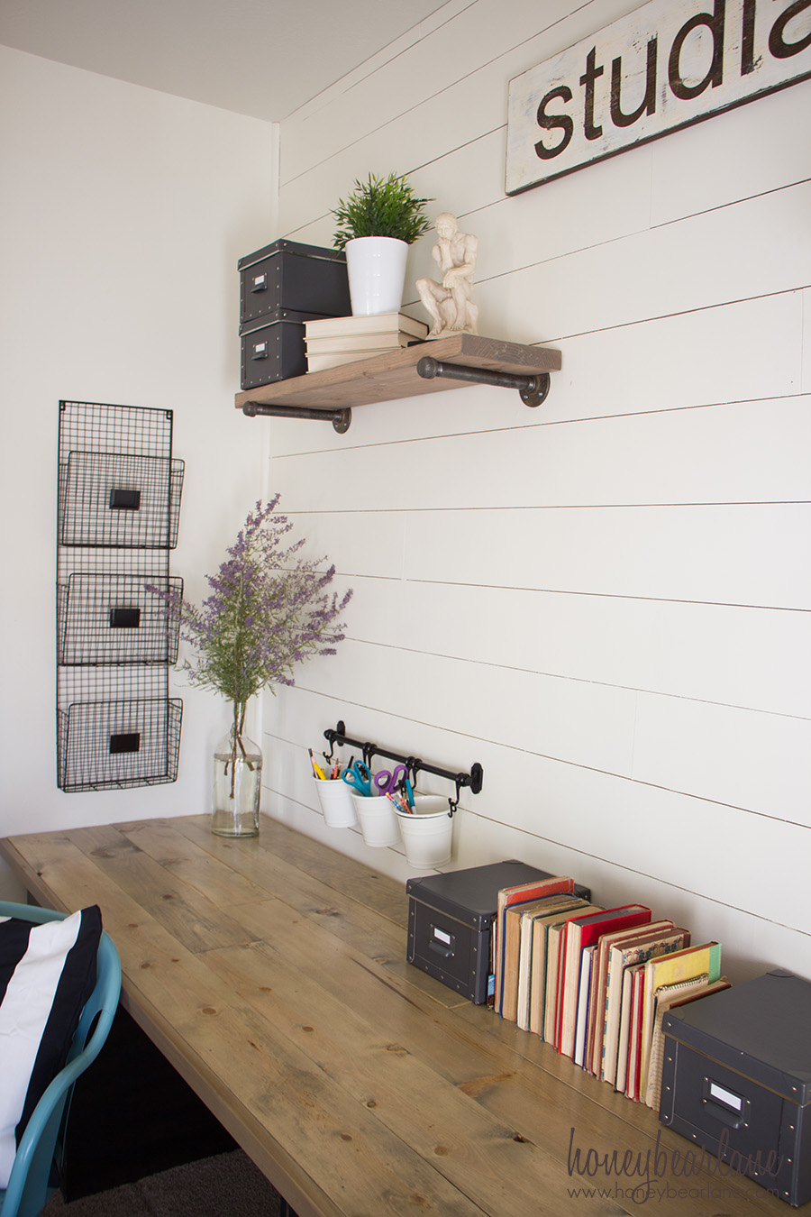 If you need a large desk to fill a space, heres the perfect solution: build a farmhouse desk! Its a rustic industrial solution for