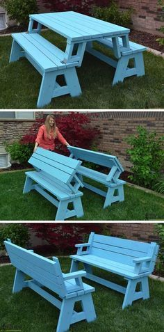 DIY foldable picnic table that turns into benches – and 13 other simple DIY outdoor weekend projects!
